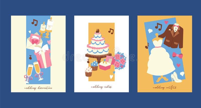 Gifta sig illustrationen för inbjudankortvektor Förbindelsegarnering, kakor, dräkter för brud och brudgum omslag pilbåge stock illustrationer