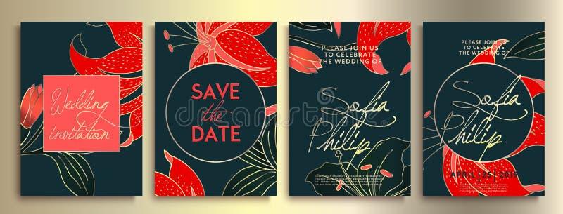 Gifta sig inbjudan med blommor och sidor på mörk textur det lyxiga kortet på blåa bakgrunder, konstnärliga räkningar planlägger,  vektor illustrationer
