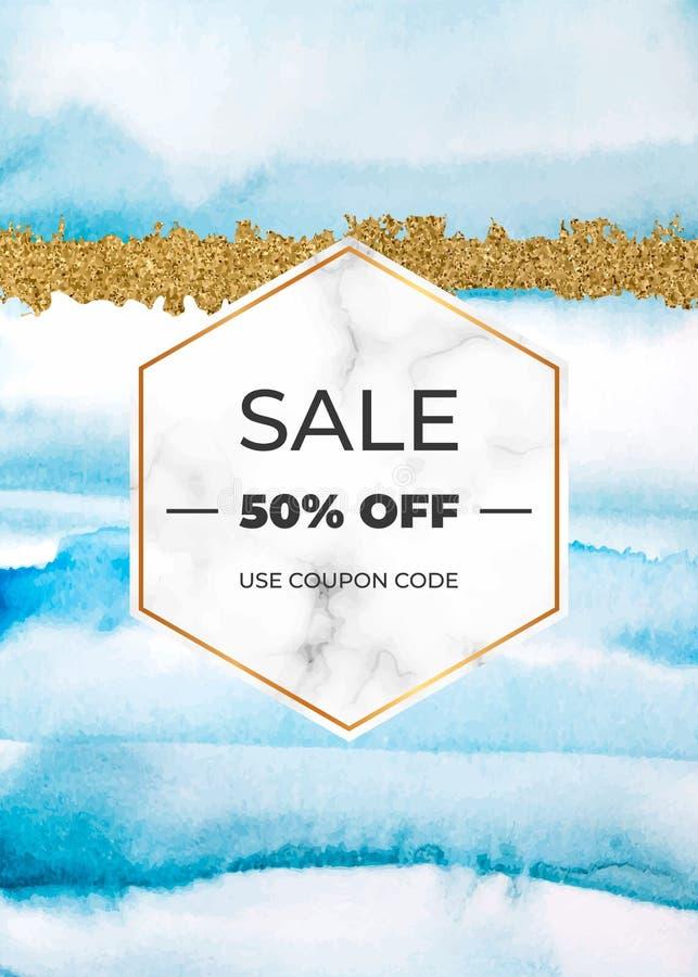 Gifta sig inbjudankortet med marmorera ramen som är guld- blänka och blå vattenfärgtextur Mall för modern design för beröm, bil vektor illustrationer