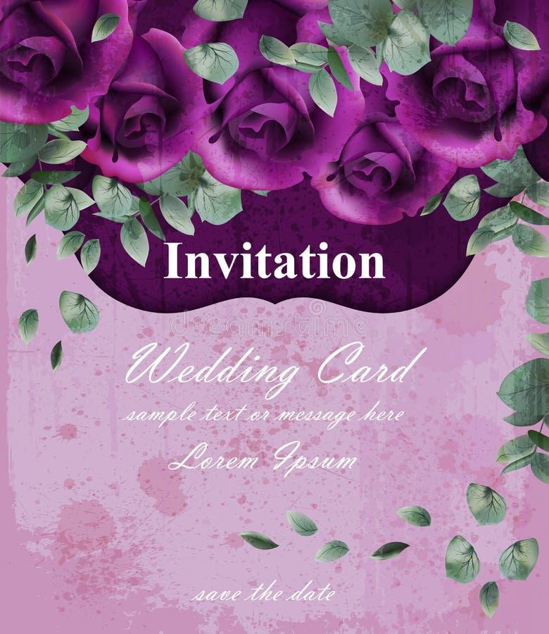 Gifta sig inbjudankortet med purpurfärgade violetta rosdekordesigner stock illustrationer