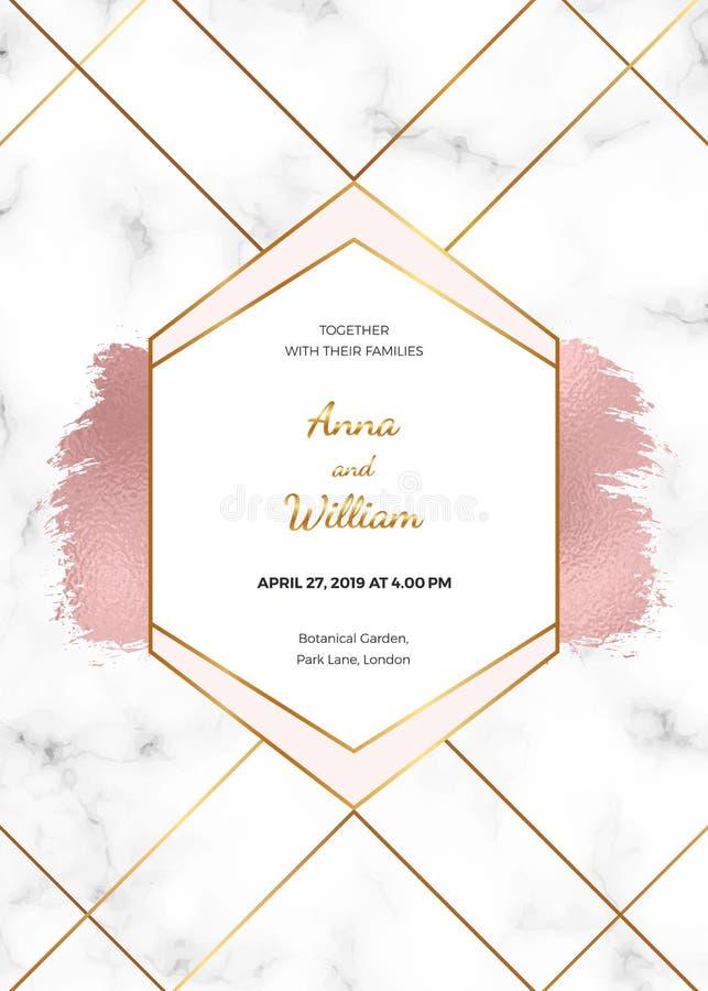 Gifta sig inbjudankortet med rosa guld- geometrisk design, polygonal linjer och att omkullkasta borstemålarfärgslaglängden på mar royaltyfri illustrationer