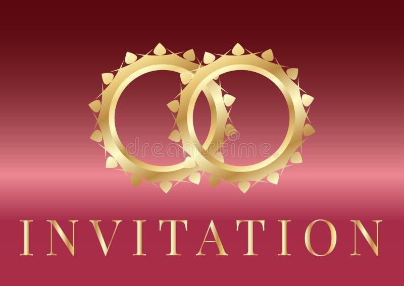 Gifta sig inbjudankortmallar med guldbröllopcirklar på regnbågsskimrande bakgrund royaltyfri illustrationer