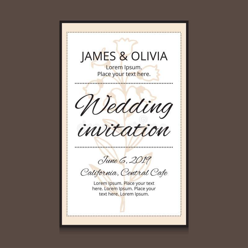 Gifta sig inbjudankortmallen med blomman royaltyfri foto