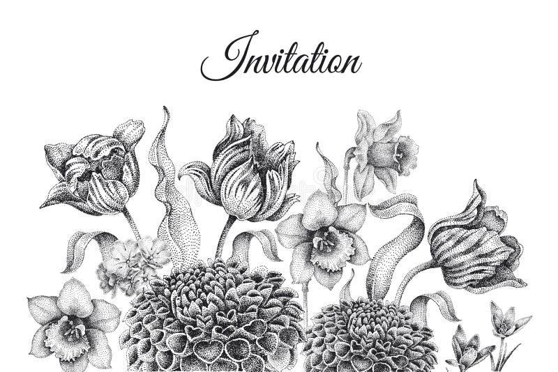 Gifta sig inbjudanmallkort med blommatulpan, dahlia vektor illustrationer