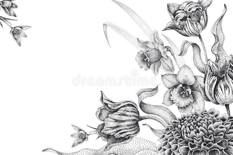 Gifta sig inbjudanmallkort med blommatulpan, dahlia stock illustrationer
