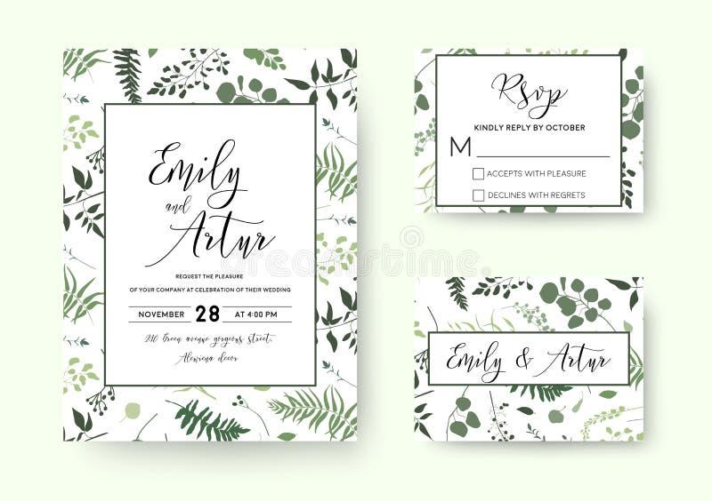 Gifta sig invitera, silh för grönska för vektorn för inbjudanrsvpkortet blom- stock illustrationer