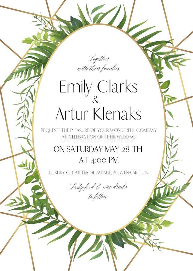 Gifta sig invitera, spara datumkortdesignen med den naturliga skogen gr vektor illustrationer