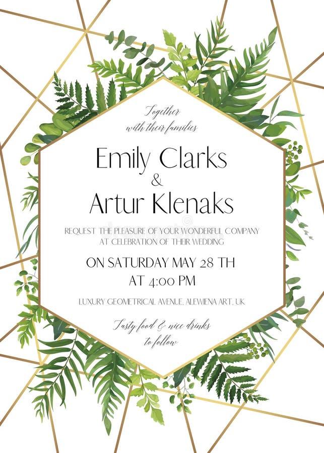 Gifta sig invitera, spara datumkortdesignen med naturliga skoggrönskasidor, ormbunkar, tropiska palmblad, bär & guld- folie stock illustrationer