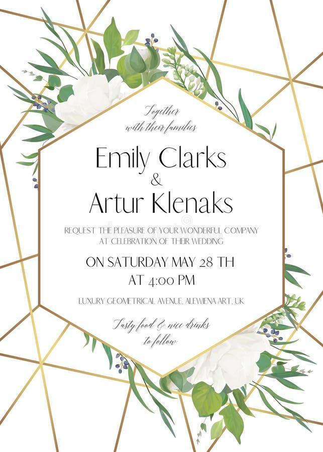 Gifta sig invitera, spara den delikata designen för datumkortet med naturligt royaltyfri illustrationer