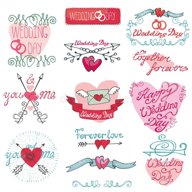 Gifta sig klotterdekoruppsättningen Romantiska etiketter, kort, klistermärke stock illustrationer