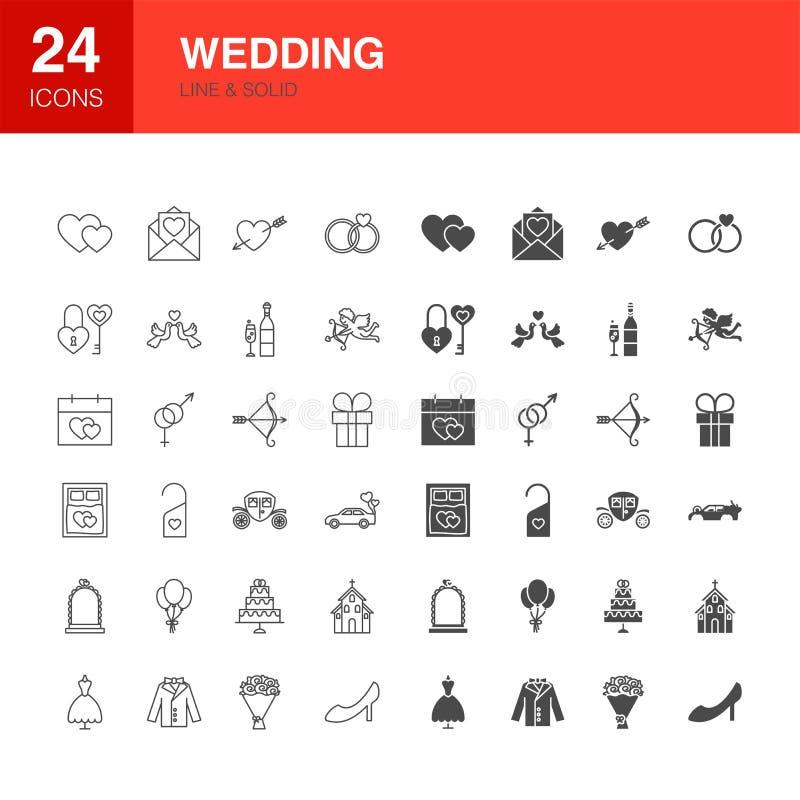 Gifta sig linjen rengöringsdukskårasymboler stock illustrationer