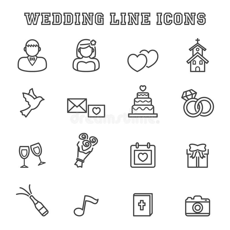 Gifta sig linjen symboler royaltyfri illustrationer