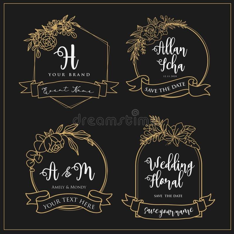 Gifta sig logoer som kan redigeras med blommalinjer vektor illustrationer