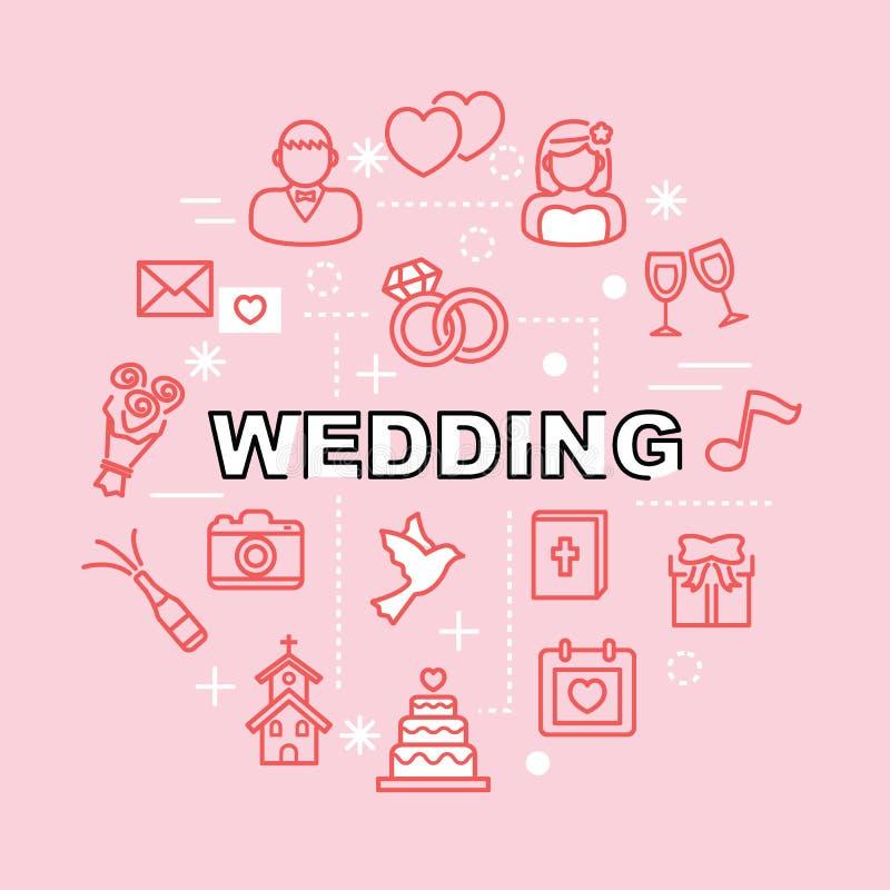 Gifta sig minsta översiktssymboler vektor illustrationer