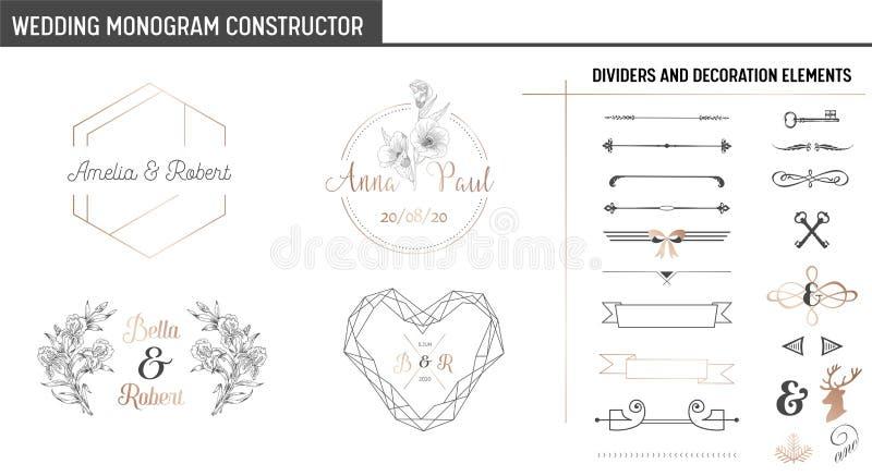 Gifta sig monogramkonstruktörn, sparar den moderna Minimalistic samlingen av mallar för inbjudankort, datumet, logo stock illustrationer