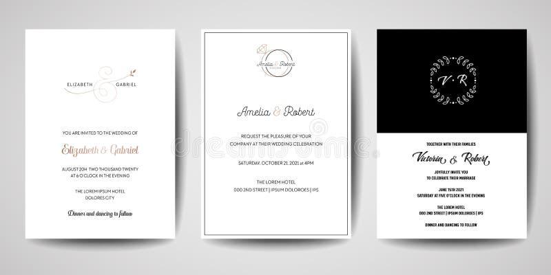 Gifta sig monogramlogoer samling, sparar handen drog moderna minimalistic och blom- mallinbjudankort, datumet royaltyfri illustrationer