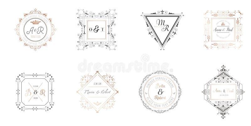 Gifta sig monogramsamlingen, sparar Art Deco Retro mallar för inbjudankort, datumet, logoidentiteten för restaurang stock illustrationer