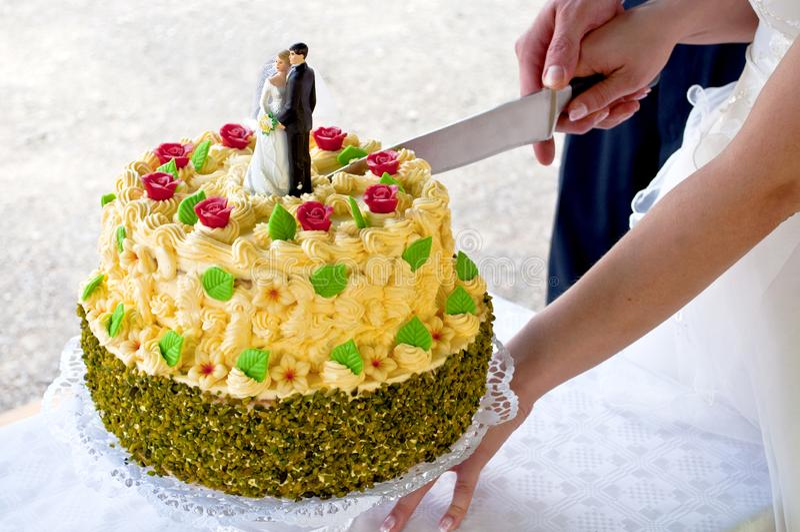 Gifta sig nyligen par klipper en bröllopstårta arkivbild