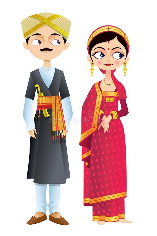 Gifta sig par av Karnataka vektor illustrationer
