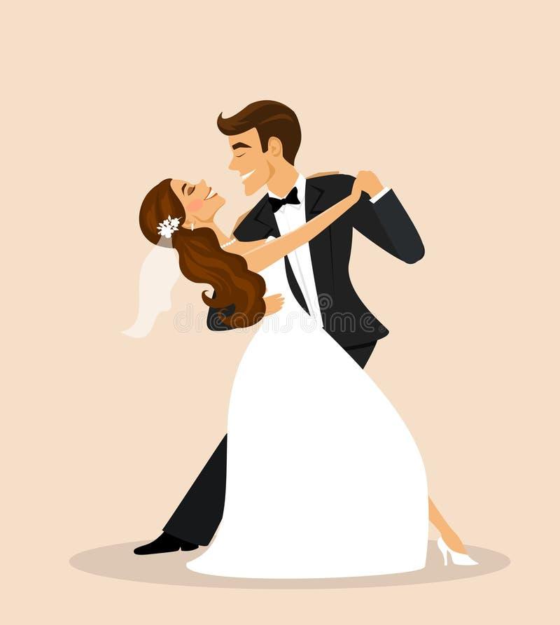 Gifta sig par-, brud- och brudgumdans royaltyfri illustrationer