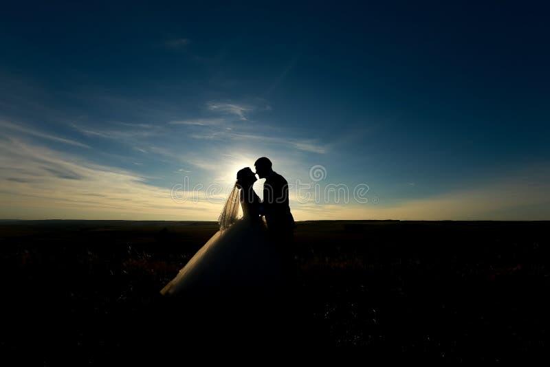 Gifta sig par med solnedgången Kontur av bruden och brudgummen som kysser på det romantiska bröllopet royaltyfri fotografi