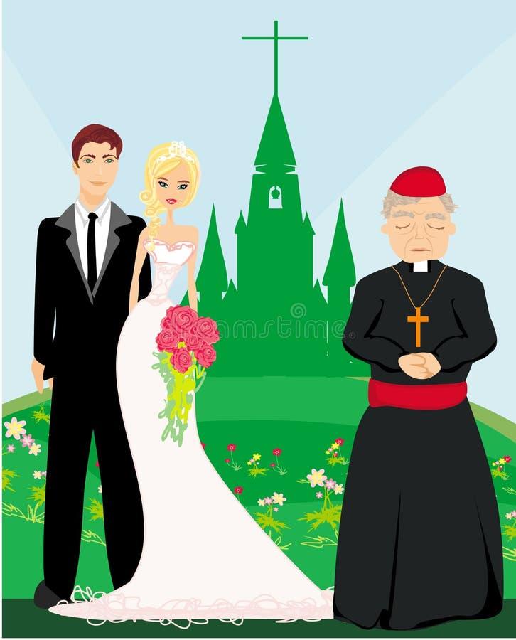 Gifta sig par och prästen framme av en kyrka royaltyfri illustrationer