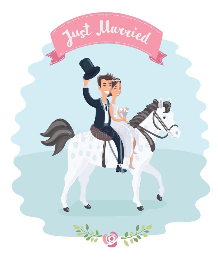 Gifta sig par på den vita hästen royaltyfri illustrationer