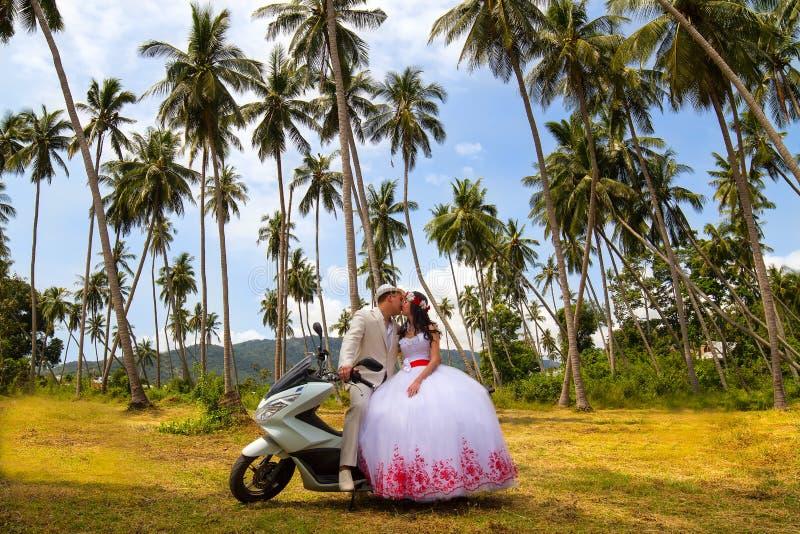Gifta sig par på en biljardduk arkivbilder