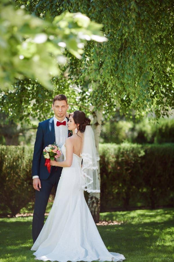 Gifta sig par på naturen arkivfoto