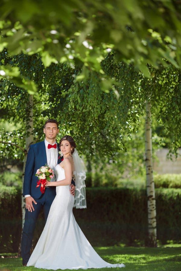 Gifta sig par på naturen royaltyfri fotografi