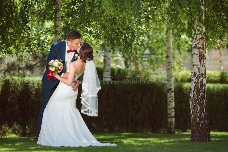 Gifta sig par på naturen royaltyfria bilder
