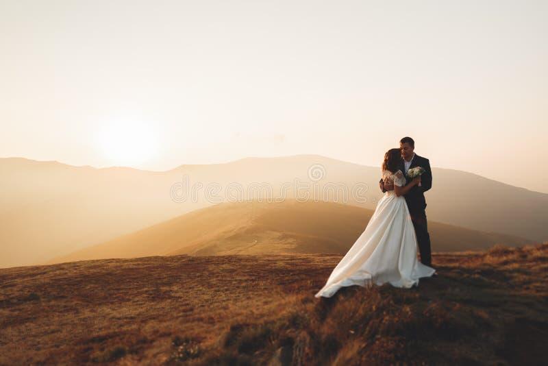 Gifta sig par som poserar på solnedgång på bröllopdagen Förälskade brud och brudgum royaltyfri fotografi