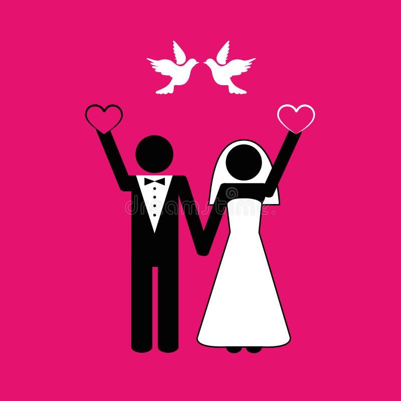 Gifta sig parpictogramen med vita duvor på rosa bakgrund royaltyfri illustrationer