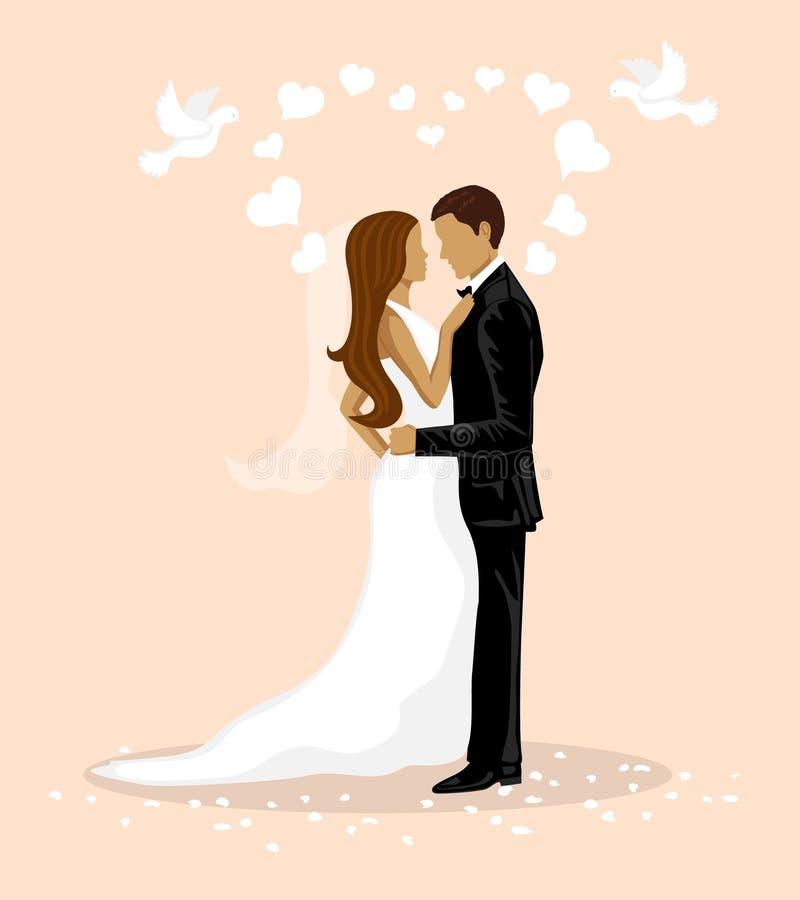 Gifta sig parvektorillustrationen bröllop för brudgum för brudceremonikyrka vektor illustrationer