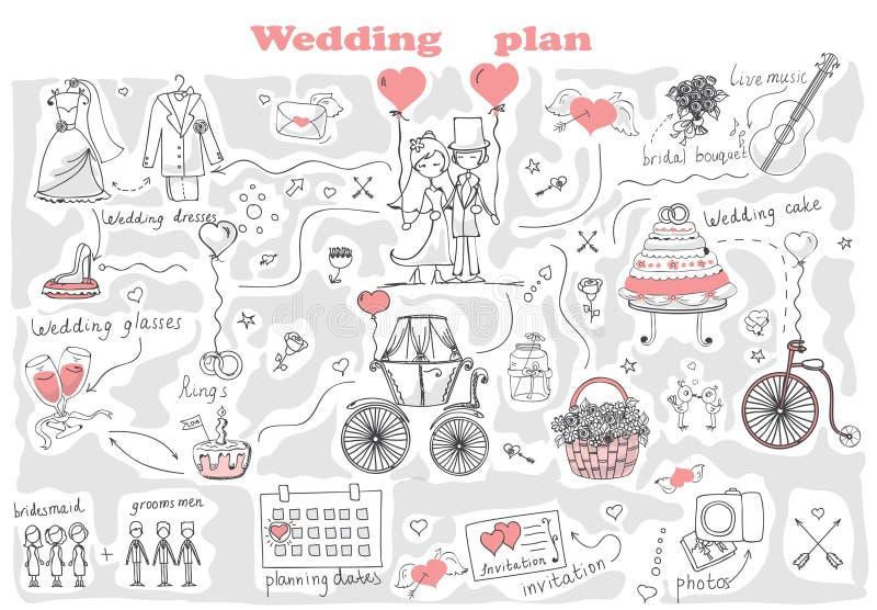 Gifta sig plan vektor illustrationer