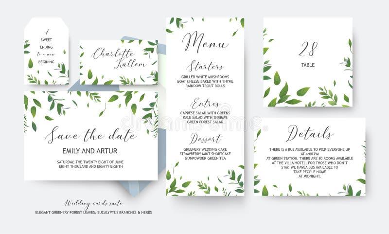 Gifta sig räddning datumet, meny, etikett, tabellnummer, vec för informationskort royaltyfri illustrationer