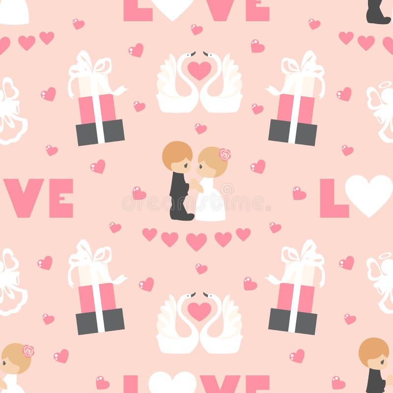 Gifta sig seamless modell Valentinbest?ndsdelar p? rosa bakgrund H?lsningbr?llopkort royaltyfria foton