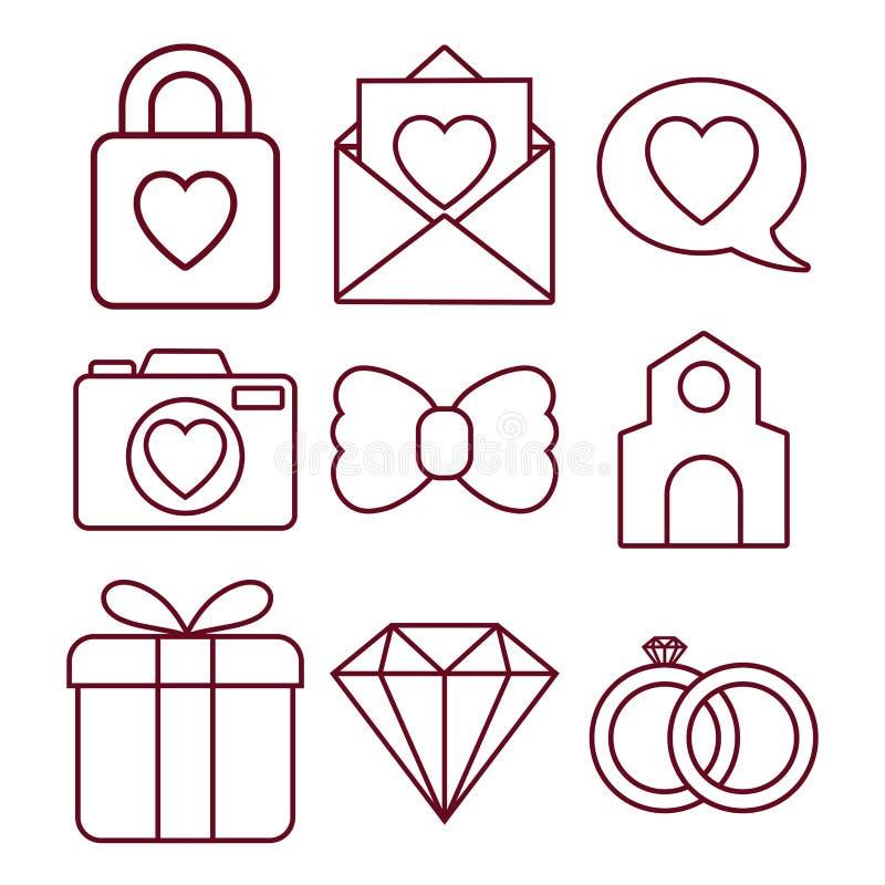Gifta sig släkta symboler royaltyfri illustrationer