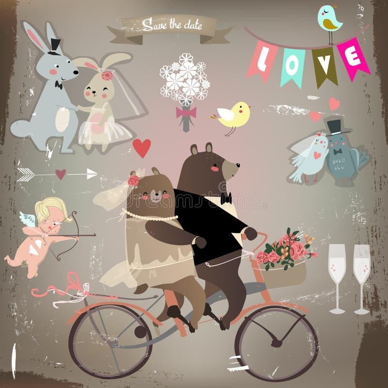 Gifta sig som är fastställt med gulliga djur vektor illustrationer