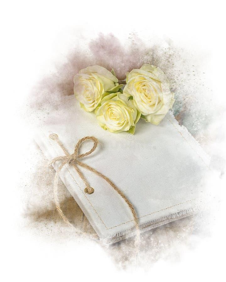 Gifta sig tidskriften med den rosa buketten royaltyfri fotografi