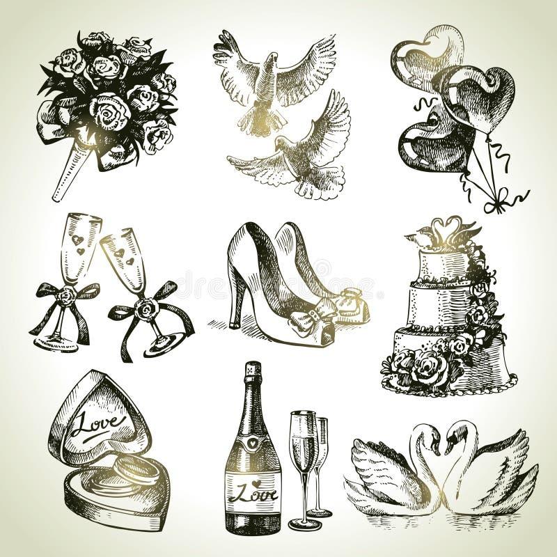 Gifta sig uppsättningen royaltyfri illustrationer