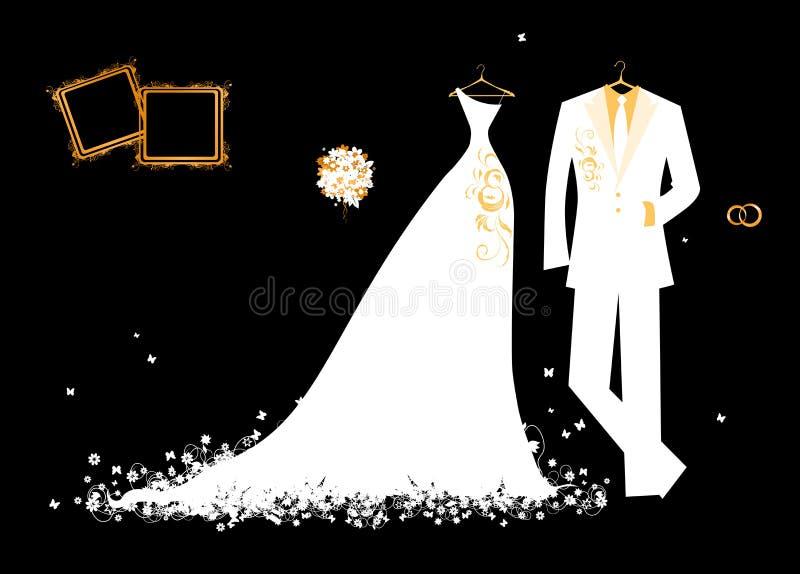 Gifta sig white för brudgumdräkt- och brud klänning stock illustrationer