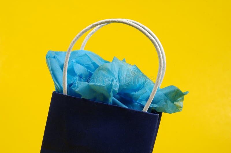Giftbag azul fotografia de stock