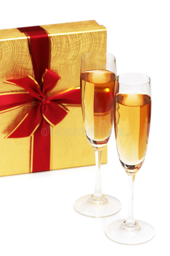 Giftbox and champagne stock photo
