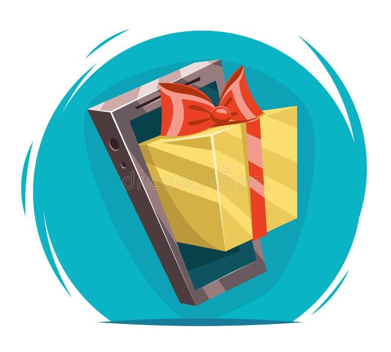 Giftbox con el ejemplo del vector del diseño de tarjeta de Greating de la historieta del presente del triunfo del teléfono móvil  ilustración del vector