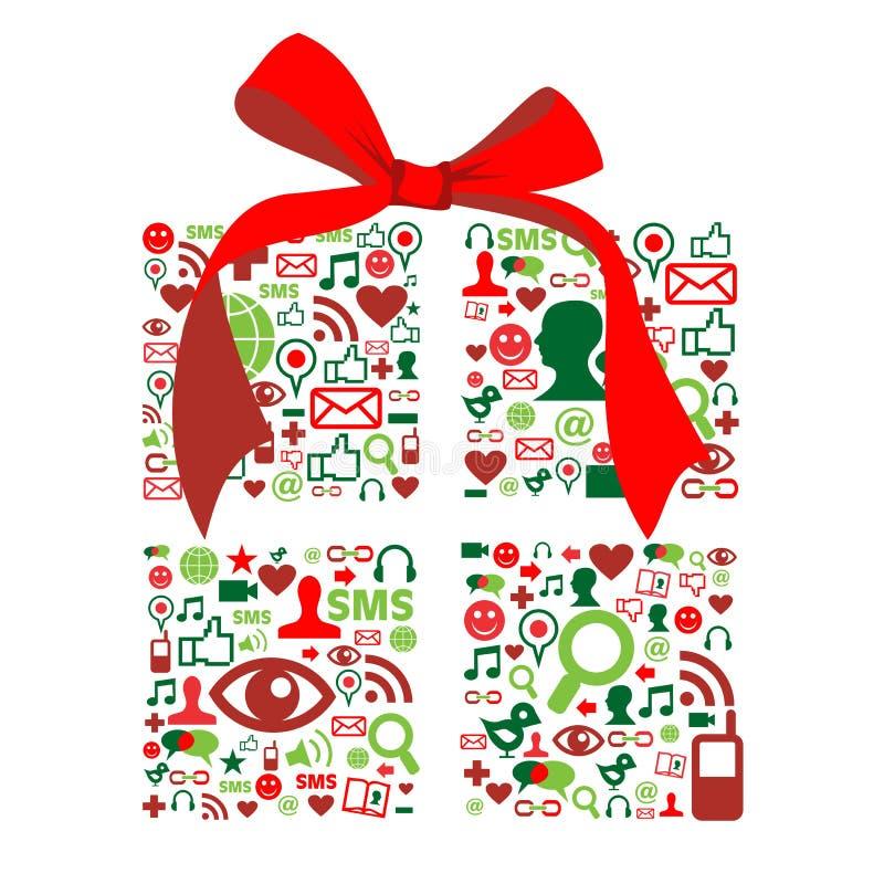 Giftbox de la Navidad hecho con los iconos sociales de los media stock de ilustración