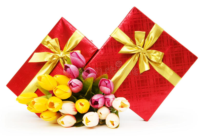 Download Giftbox and flowers stock photo. Image of birthday, gold - 14856690