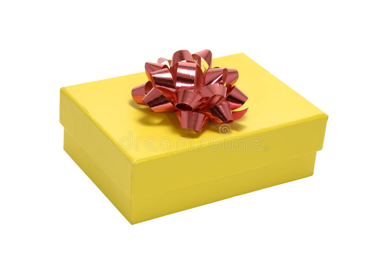 Giftbox giallo fotografia stock