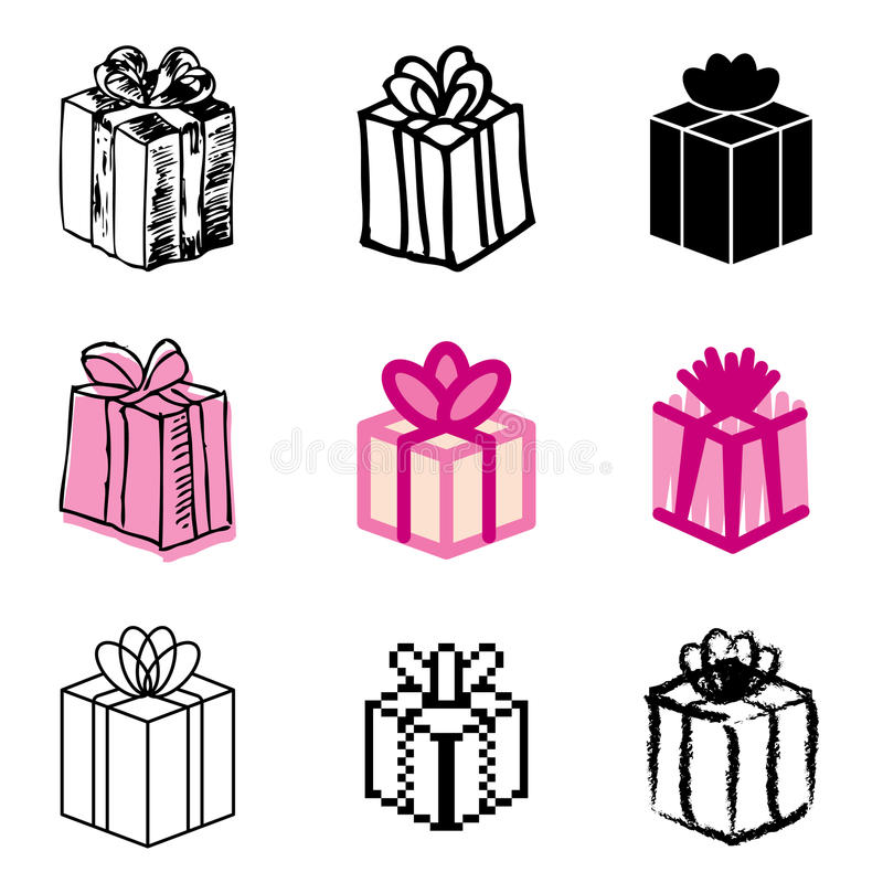 Download Giftbox icons set stock vector. Image of hand, colorful - 23872818