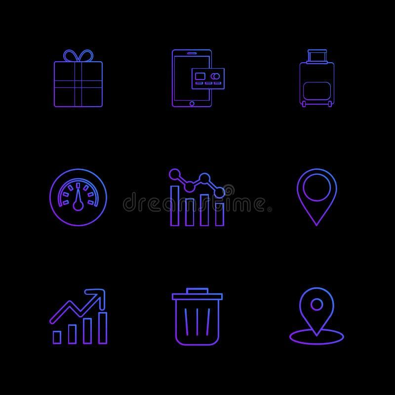 giftbox, ipad, Kompass, Navigationen, Diagramm, Tasche, ENV-Ikonen vektor abbildung